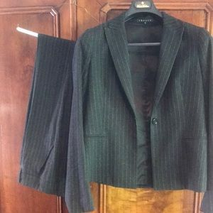 Theory wool pin striped suit